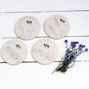 Bumblebee And Wild Flower Ceramic Coasters - tableware