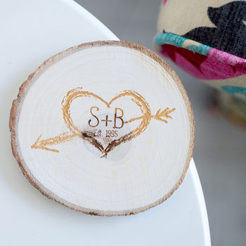 Initials Natural Wood Coaster