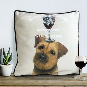 Border Terrier Cushion, Dog Au Vin Wine Gift