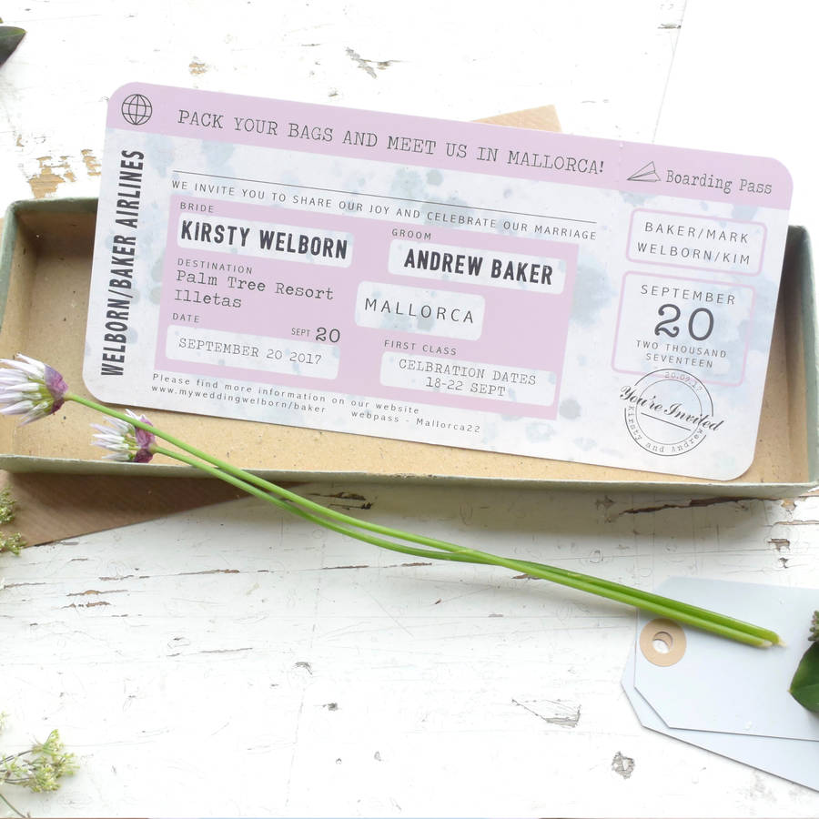 boarding pass wedding invitation vintage style by paper and inc ...