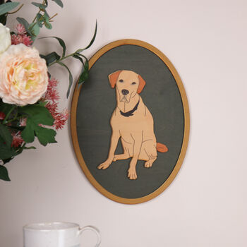 Personalised Illustrated Wooden Pet Portrait