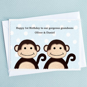 Personalised Twins Birthday Or New Baby Card