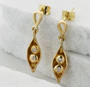 Gold And Diamond Peas In A Pod Drop Earrings