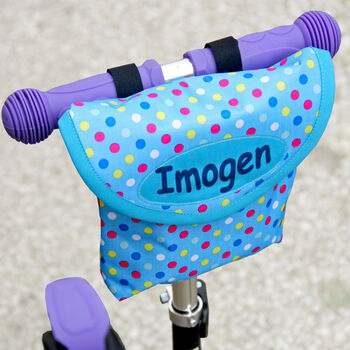 Child's Blue Spotty Personalised Scooter Bag