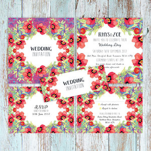 Botanical Poppy Floral Wedding Invitation Set - wedding stationery