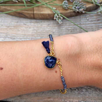 Navy Sodalite Tassel And Teardrop Gemstone Bracelet