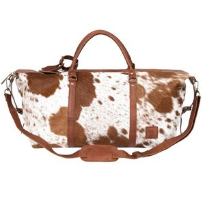 Armada Overnight Duffle In Animal Print Pony Hair - holdalls & weekend bags