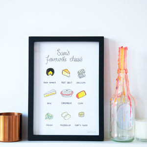 Personalised Favourite Cheeses Illustration Print - food & drink prints