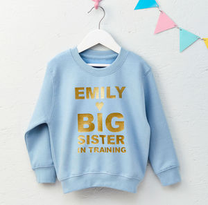 Girls Personalised Big Sister Sweatshirt - babies' jumpers