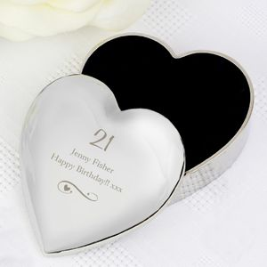 Engraved Heart Trinket Box With Decorative Swirl