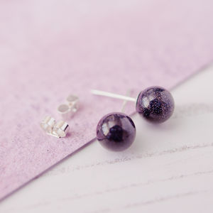 Blue Goldstone Stud Earrings
