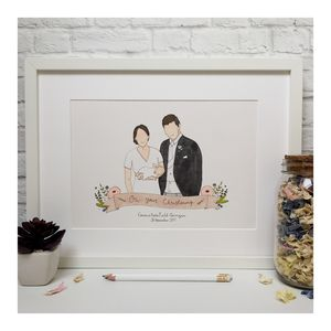 Personalised Christening Portrait Illustration - drawings & illustrations