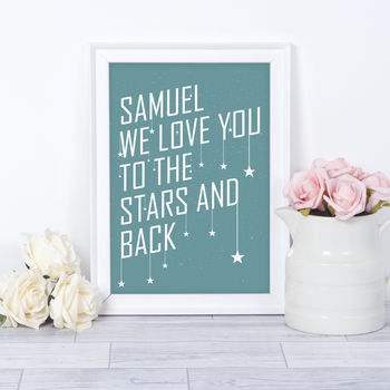 Personalised New Baby Stars Nursery Print