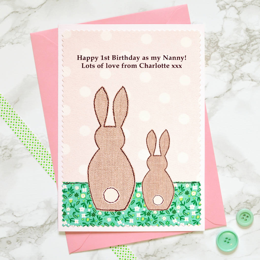 Bunnies Personalised Birthday Card From Your Baby Toddler Or Young Child
