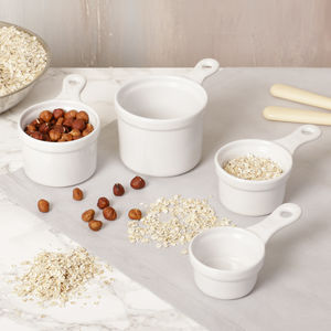 Set Of Four Ceramic Baking Measuring Cups - kitchen accessories