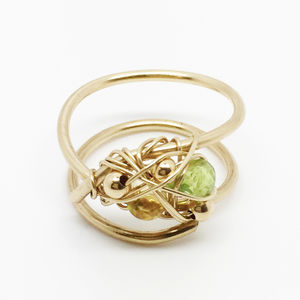 Gold Spiral Ring With Gemstone - rings