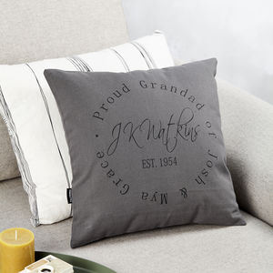 Personalised Signature Stamp Design Cushion - for grandfathers