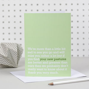'Your New Pastures' Goodbye Card - leaving cards