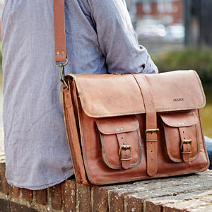 Personalised One Strap Leather Satchel