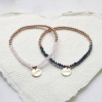 Love Charm Beaded Bracelets In Pink Or Grey