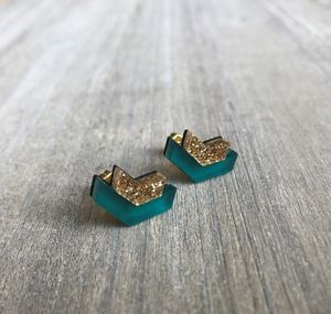 Acrylic And Glitter Wave Studs