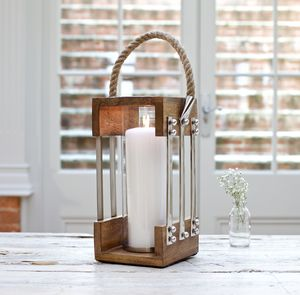 Nautical Wood Candle Lantern With Rope Handle - outdoor lights