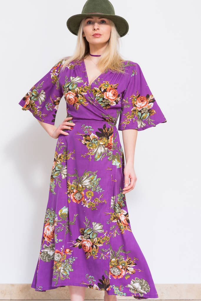 Purple Calf Length Dress