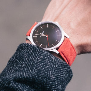 Red Dialmaster Watch With Suede Strap - watches