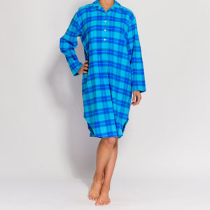 Women's Nightshirt In Aqua Tartan Flannel