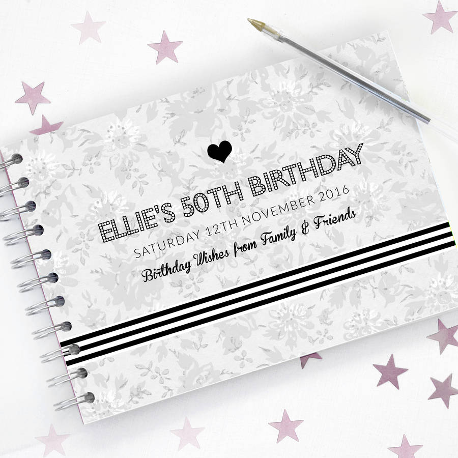 Personalised 50th Birthday Monochrome Guest Book