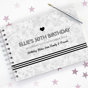 Monochrome 50th Birthday Guest Book