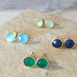 Gold Plated Sterling Silver Stud Earrings - earrings
