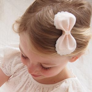 Chloe Pink Lace Bow Flower Girl Hair Clip