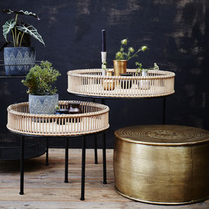 Rattan And Metal Side Table - side tables