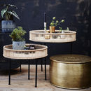 Rattan And Metal Side Table