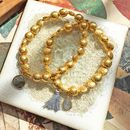 Goa Gold Nuggets Bracelet Set With Gemstone
