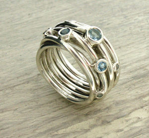 Sterling Silver Aquamarine Coil Ring - engagement rings
