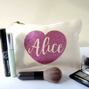 Personalised Sparkly Heart Make Up Bag - bridal beauty