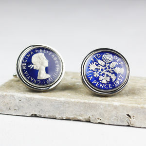Sixpence 1957 60th Enamel Coin Cufflinks - jewellery sale