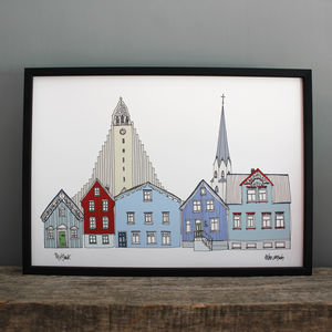 Reykjavik Skyline Print - maps & locations
