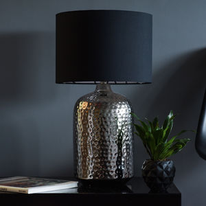 Nickel Hammered Pot Table Lamp Base - bedroom