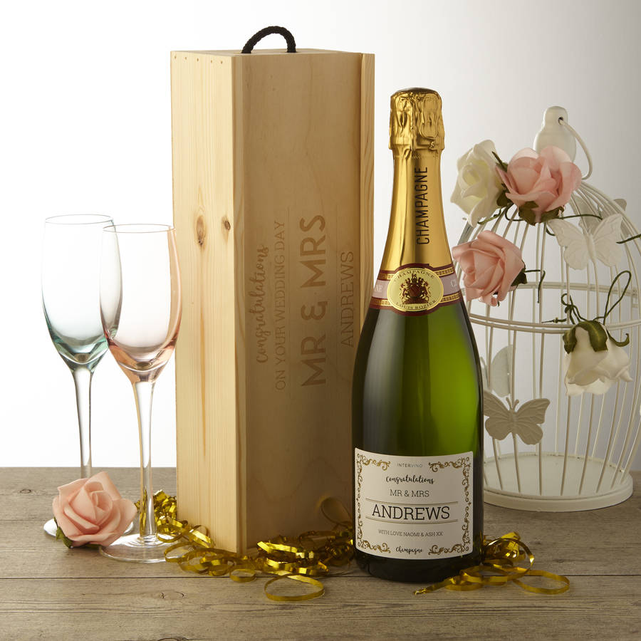 Personalised Wedding Champagne With Wooden Gift Box By