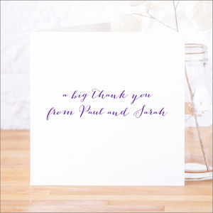 Single Or Pack Of Personalised Thank You Cards D14