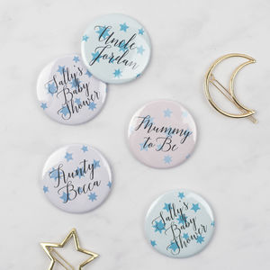 Star Print Personalised Baby Shower Badges