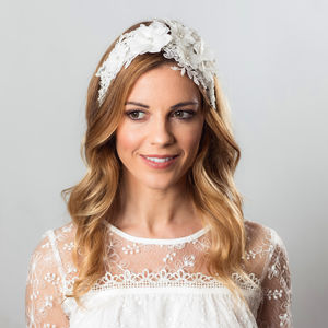 Ivana Ivory Flower Hair Band - head pieces