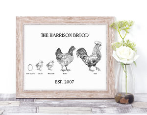Personalised Chicken Family Print
