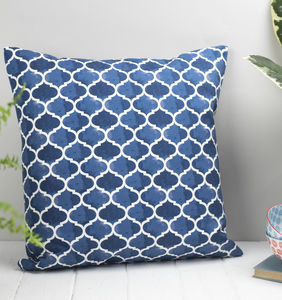 Isabel Feather Cushion, Geometric Blue Pattern