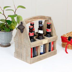 Personalised Natural Oak Wood Six Bottle Beer Carrier - office & study