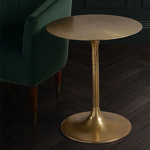 Brass Tulip Stem Side Table - side tables