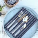 Blue Patterned Cutlery Set